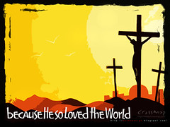 Christian Backgrounds Wallpaper - Because He So Loved the World 1-5 (crossmap backgrounds) Tags: world desktop wallpaper orange love yellow three worship cross god jesus free son images christian backgrounds computerscreen powerpoint crucifixion john316 powerpointbackgrounds crossmap worshipbackgrounds freechristianimages