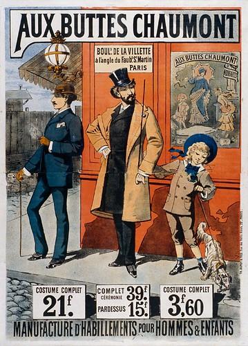 017- Affiche publicitario trajes para hombres y niños-siglo XIX