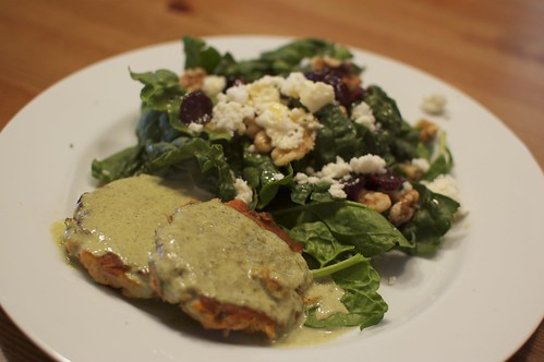 Salmon Cakes with Sorrel Sauce & Over Wintered Spinach Salad