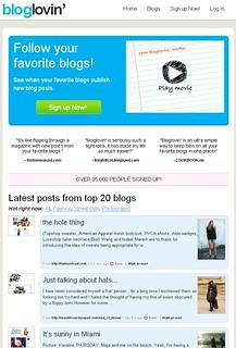 Bloglovin's startpage