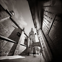 Limestone and Iron in Toledo Spain (Pinhole Photograph) (integrity_of_light) Tags: bw film architecture spain iron doors gothic towers pinhole toledo steeples kodaktmax400 zeroimage silvergelatin