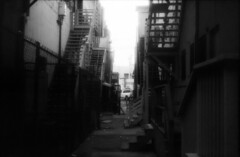 Grimy Alley - Dark (airencracken) Tags: blackandwhite film la losangeles chinatown pentax infrared 135 february flickrmeet 2009 emulsion efke hoyar72 pentaxsuperprogram airencracken laphotocontest09 efkeir820aura
