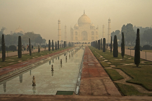 Taj Mahal in a winter morning mist