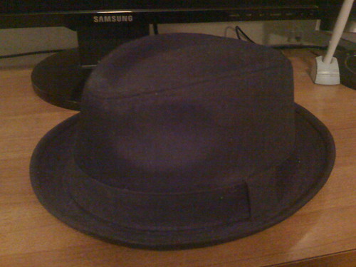 black hat cotton fedora flippable