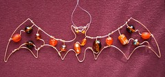 Orange Beaded Bat - a suncatcher