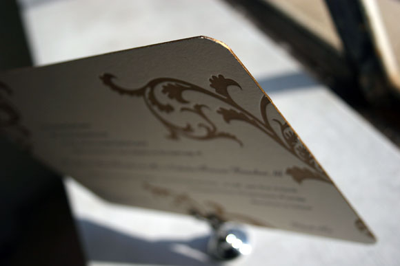 Gold edge painting on a letterpress wedding invitation - Smock