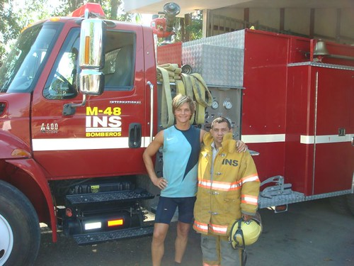 Me and Enrique, the fire fighter with the golden heart...