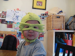 Owen tries on his IKEA Dragon Mask