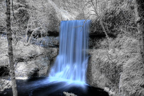 Long exposure, during the day. Silver Falls, Oregon. Taken with an IR filter.