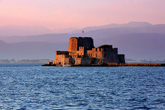 Bourtzi castle.Nafplion,Greece (Dimtze) Tags: light sunset sea castle canon flickr hellas explore greece nafplion soe ellada bourtzi 40d flickraward flickriver