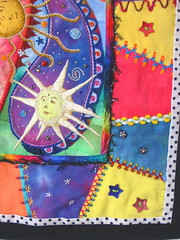 Celestial Paisleys finished details (cymberrain) Tags: pink blue sun moon color art yellow stars colorful purple needlework embroidery sewing tapis patchwork paisley applique couture crazyquilt embellished couleur handstitched dyed celestial celeste creations wallhanging handdyed fiberarts broderie saturatedcolor artsplastiques brightcolored couleursvives loisirscreatifs celestialpaisleys teintureartisinale