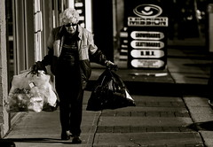 The Old Cedar (Mohammadali) Tags: life street old winter vacation bw woman canada calgary canon eos rebel edmonton alberta cedar elder recycle elders 2008 xti rebelxti