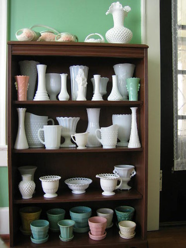 Large collection of milk glass in cabinet, via Flickr: belleflower29