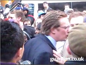 Banker at protests.
