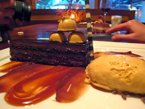 Chocolate Mousse Cake with Salt Caramel Gelato