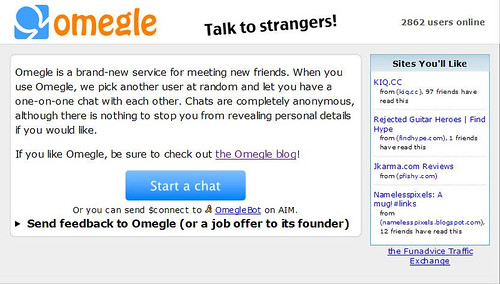Omegle.com 首页,引爆流行 by you.