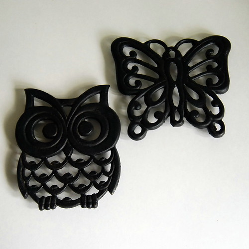 Owl and Butterfly Vintage Cast Iron Trivets
