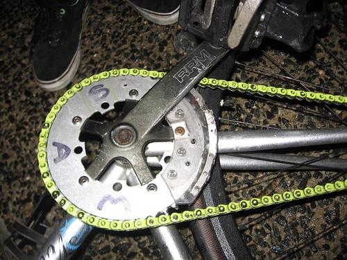 titanium tipped chainring guard..