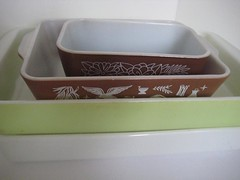I have several of the oblong baking things! (jenscloset) Tags: pink flowers brown white black vintage limegreen americana pyrex kitchenware casseroles fireking bakeware glasbake mixingbowls springblossom crazydaisy