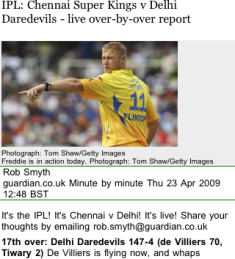 Guardian mobile cricket coverage