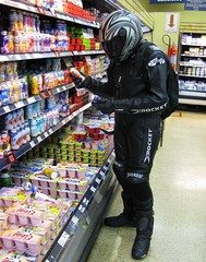 Dawson Goes to the Supermarket (dawson.mulder) Tags: shark boots market helmet gear supermarket suit mulder biker vader yogurt speedmaster dawson joerocket alpinestars