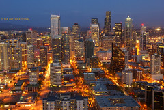 Sunset Meets Night in Seattle (TIA International Photography) Tags: seattle city sunset urban buildings tia colorful downtown cityscape panoramic aerial spaceneedle metropolis emeraldcity twop seattleflickrmeetup bej sonyalpha theunforgettablepicture internationalflickrawards tosinarasi tiascapes spaceneedle01 tiainternationalphotography