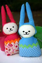 easter bunnies - pattern by revoluzZza (Fiona Carter) Tags: bunny easter sewing softies fabric ribbon corduroy eastereggs handmadetoys eastercraft revoluzzza parkslopefabric
