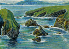 Nuns' Beach at Ballybunion - oil pastel drawing (orla99913) Tags: ballybunion irleand countykerry nunsbeach