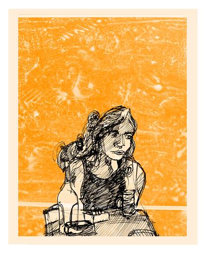 una mujer / aburrida en el bar el taller