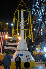 Ares I-X. 'Birdcage' is Lowered (NASA, Ares Rockets, 5/11/09) (NASA's Marshall Space Flight Center) Tags: birdcage nasa spacetravel kennedyspacecenter constellation ares tothemoon crewmodule aresrockets aresix launchabortsystem