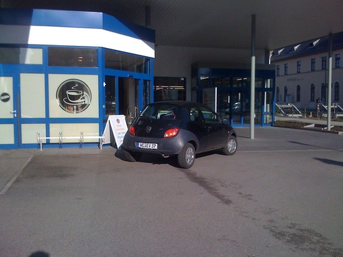 The driver of this car, WE EV 37, this morning was too important and in too big a rush to park in an actual parking space, so instead he pulled up in front of the door of the bakery, turned off his car and went in the shop.