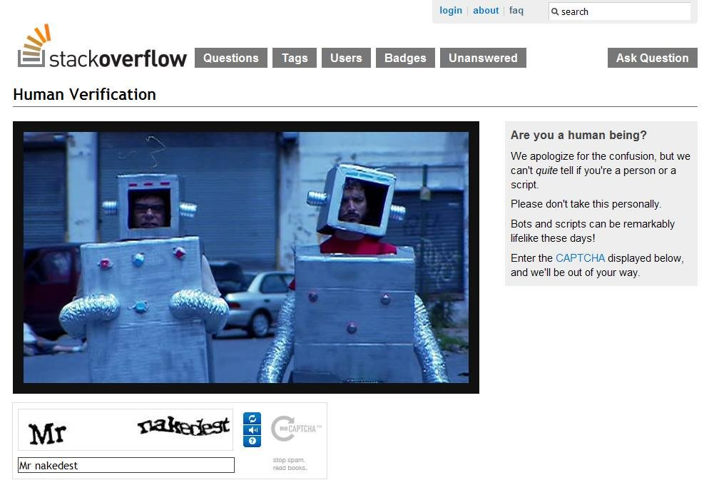 And the Award for Most Awkward CAPTCHA goes to: StackOverflow! [PIC]