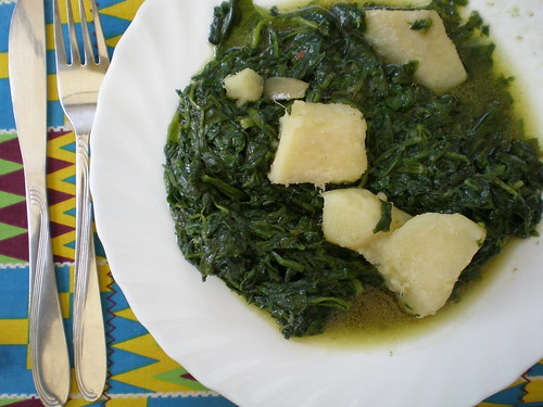Spinach with yam