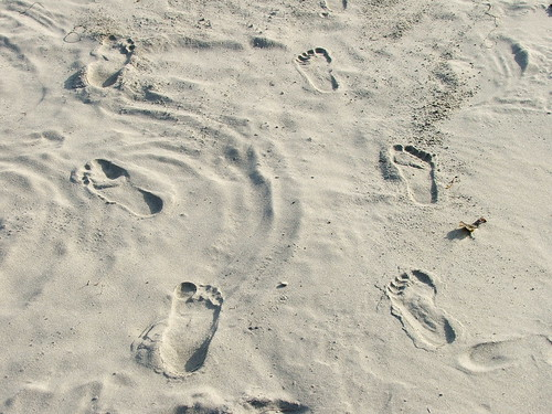 Lovers' Footprints in the Sand