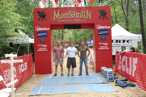 Warren, Bill, and Jeff at the finish the day before Mooseman