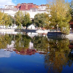 Potala - Tibet Winter Residence of the Dalai Lamas (Ginas Pics) Tags: china winter mountain reflection building architecture religious design god religion monk buddhism palace tibet holy monastery sacred gods residence spiritual lhasa potala himalayas freetibet dalailama travelphotography ginaspics holypics  tibet gettyvacation2013