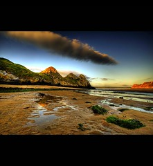 """ THREE CLIFFS BAY ~ THE GOWER "" (Wiffsmiff23) Tags: sky swansea clouds sunrise reflections golden grand romantic dreamy gower majestic 3cliffs threecliffsbay thegower"