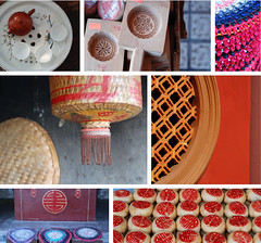 Chaozhou Details (NowJustNic) Tags: china red detail cup window cake shop wall tile temple 50mm nikon paint basket tea mosaic curvy guangdong frame tray teapot lantern woven mould hanzi wicker circular mooncake tassle prayermat doublehappiness chaozhou d80 nikkor18135mm