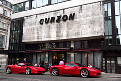 Brothers. (Alex Penfold) Tags: street camera red 2 london cars alex sports up car canon photography photo cool italia shot image duo awesome picture fast super ferrari line exotic photograph arab hyper kuwait mayfair supercar numberplate exotica supercars combo   penfold   curzon 458 2011       eeb 9029 60d    hxb lj60    lj60eeb