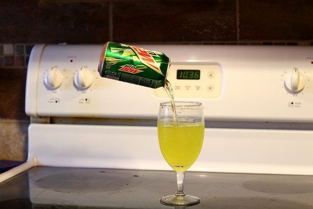 pouring mt dew