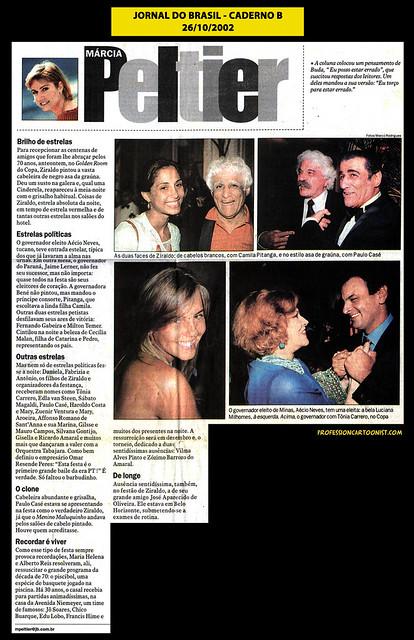 """""""Brilho de estrelas"""" - Jornal do Brasil - 26/10/2002"""