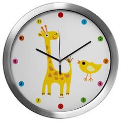 giraffe and chick clock (birdarts) Tags: birthday cute birds animals kids children illustrator giraffe clocks babyshower cafepress kidsroom rainbowcolors vectorg andibird
