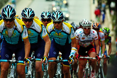 Team Astana Leading the Main Pack (<dB>) Tags: california camera portrait sunglasses bike canon rebel bicycling cycling la los amazing team tour arms angeles stage group helmet bikes 7 db event jersey strength 2009 amgen pedal astana riders xsi 450d