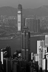 More Buildings (Ruben Mascaró Photography) Tags: china vacation blackandwhite bw hk holiday canon hongkong travels asia skyscrapers prc thepeak kowloon hongkongisland overseas victoriapeak peoplesrepublicofchina hongkongsar canon30d canonef70200mmf4lusm mustang1430