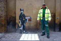 Banksy and spotter. (Romany WG) Tags: street urban london art square graffiti stencil banksy aerosol dalston gillett