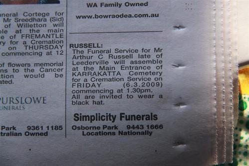 arthur funeral notice