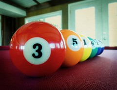 Lucky Number...3. (Shot.By.Shel Photography) Tags: blue red 2 orange 6 3 green pool yellow table 1 rainbow purple 5 4 gimp balls line billiards vignette sunroom linedup floridaroom
