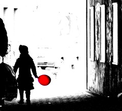 red balloon (Rococo57) Tags: red white black girl childhood silhouette happy memories tunnel goinghome pasttense intothelight colourartaward rococo57 refusedalwaysexcellent floortertius
