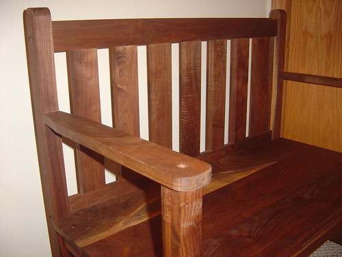 black walnut side bench