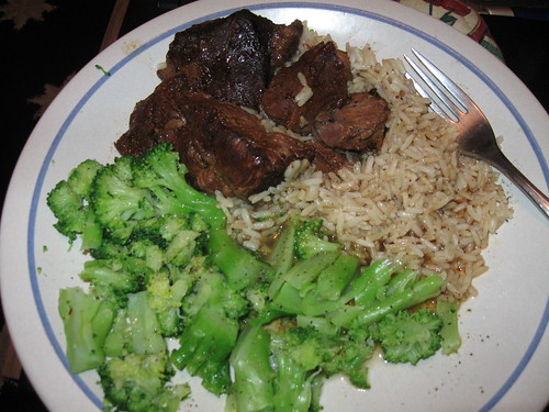 Hormel Beef Roast, rice & Broccoli
